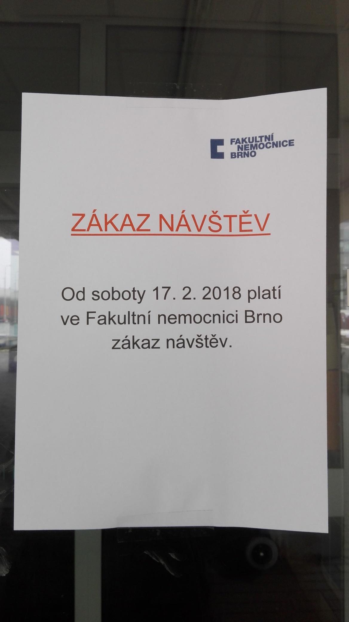 Zákaz návštěv ve Fakultní nemocnici Brno