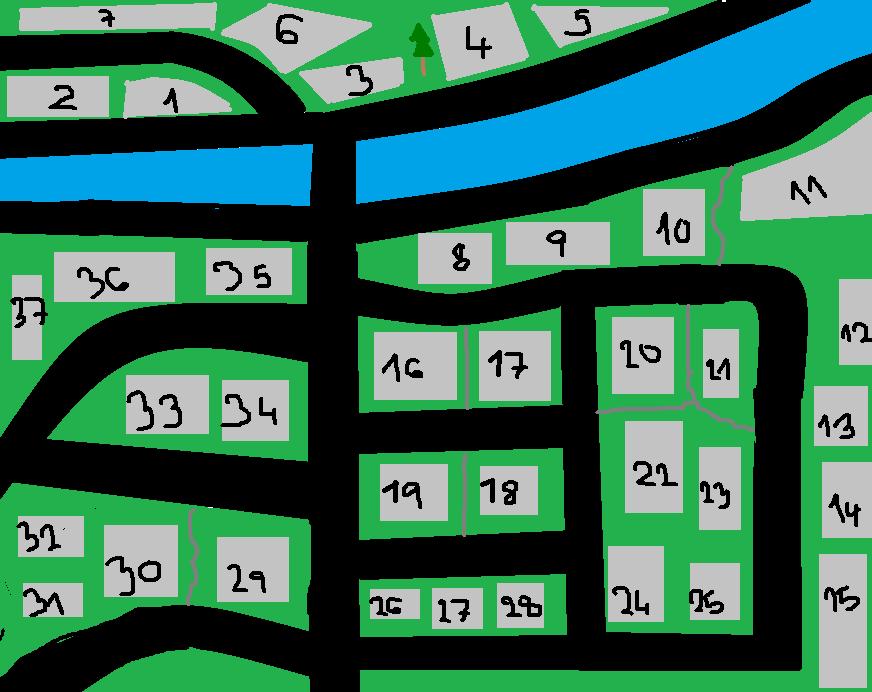Černě - silnice a čísla popisná Tmavě šedě - chodníky Světle šedě domy Modře - řeka