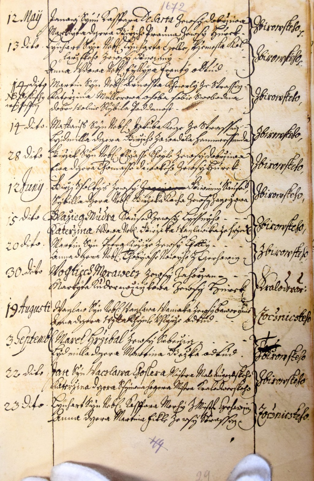 Jan Desort Markyta Praumova povoleni k snatku 1672